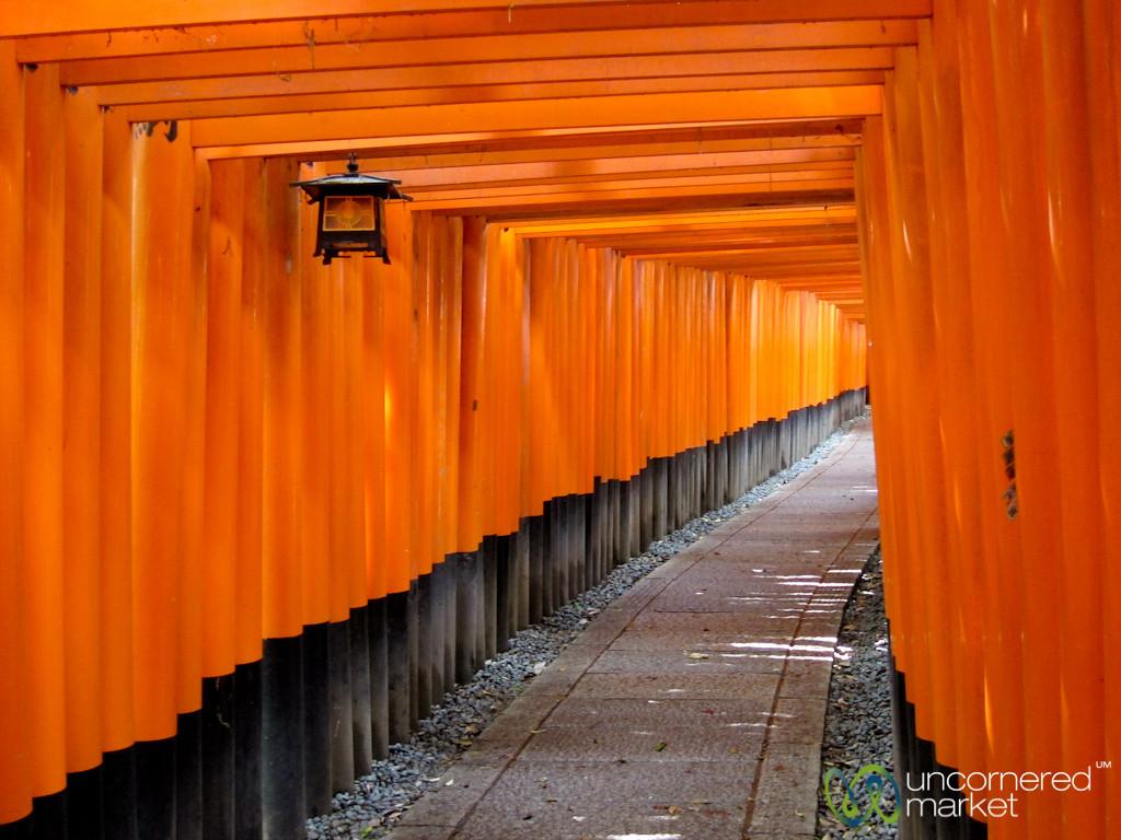 Tunnel of Torii (Gates) at Fushimi Inari Shrine - Kyoto, Japan