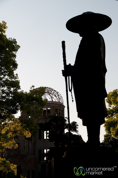 Silhouette of Pilgrim Statue Against Atomic Bomb Dome - Hiroshima, Japan