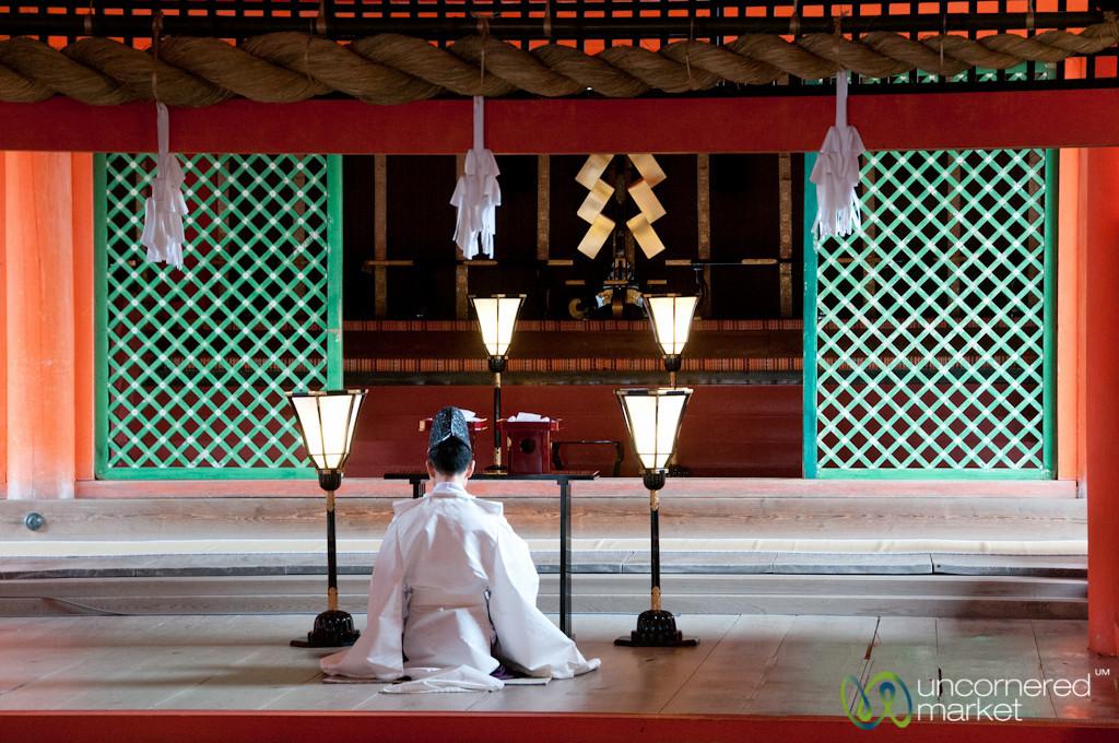 Shinto Priest at Itsukushima Shrine - Miyajima, Japan