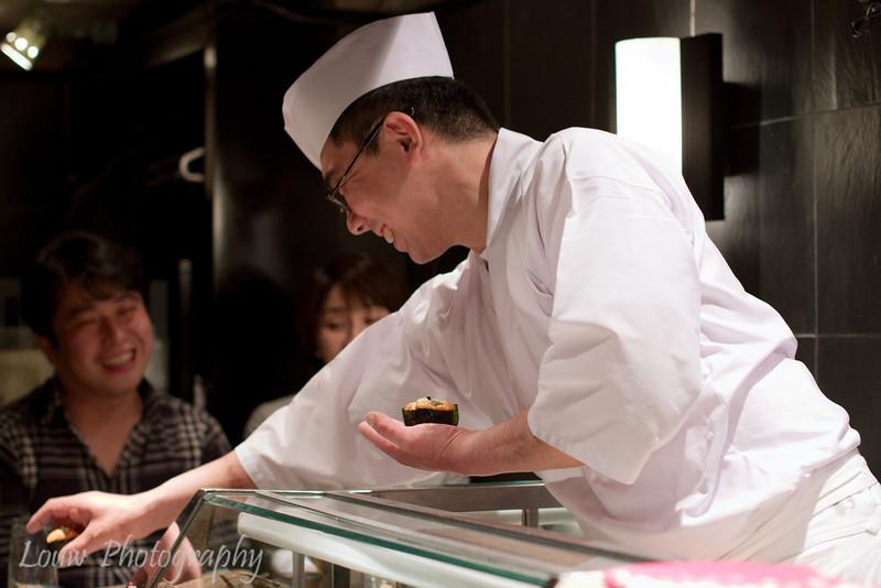 """Kawashima-san, """"Saturday Master"""" at Daisan Harumi Sushi, Tokyo"""