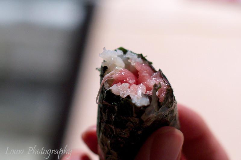 Tuna hand roll at Daisan Harumi Sushi, Tokyo, Japan