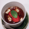 Milk pudding with beans, rice, jelly and strawberries, Esaki, Tokyo, Japan