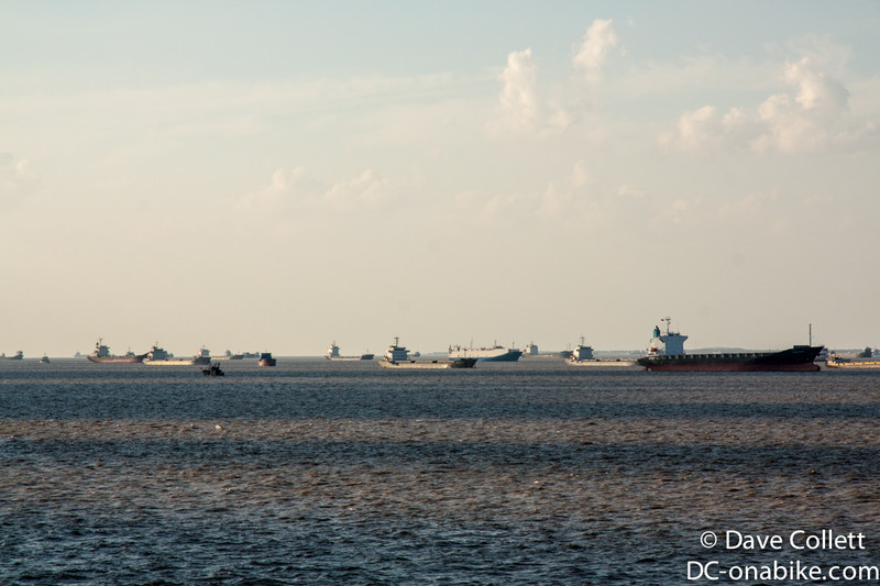 Lots of ships coming out of the Yangtze