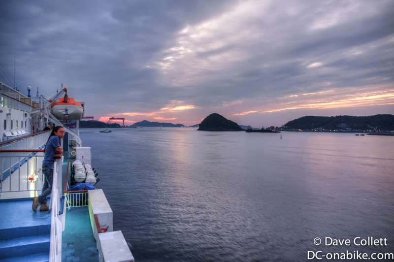 Sunset heading out of Nagasaki harbour