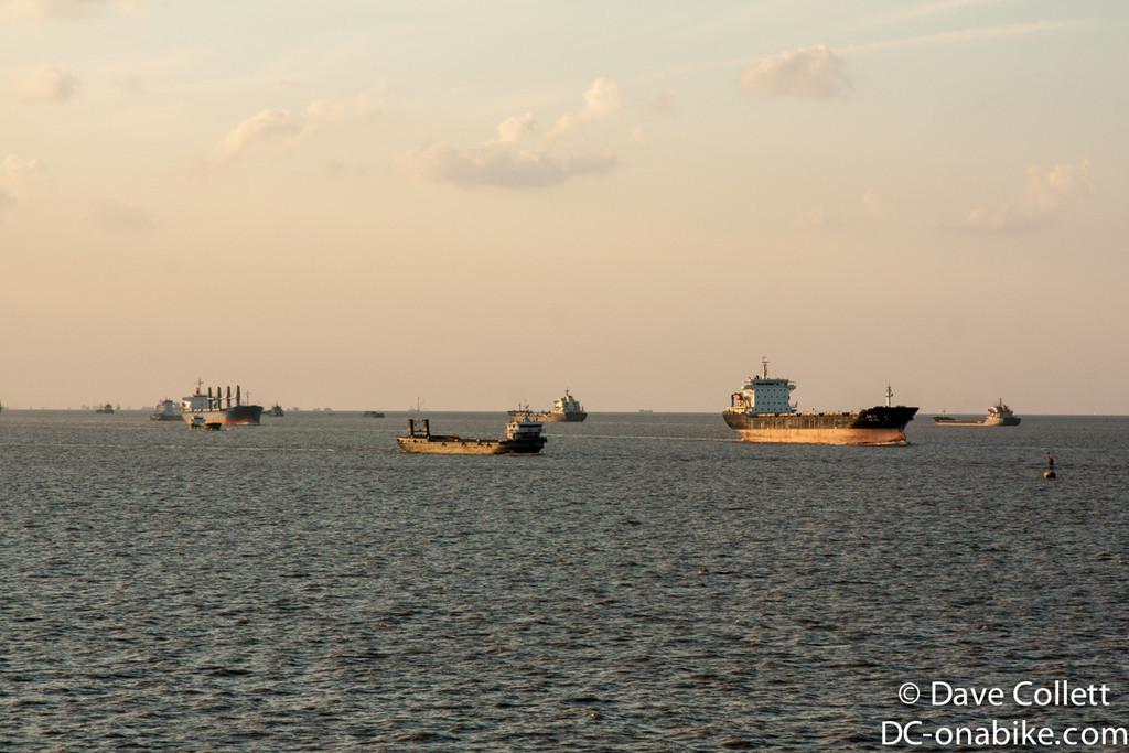 Ships at dusk as we split off the Yangtze