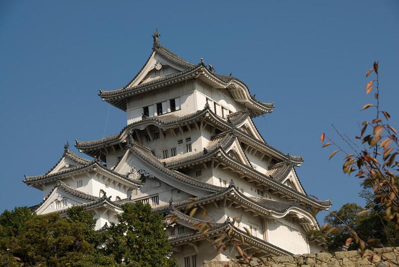 Architectural details of Himeji Castle in Japan