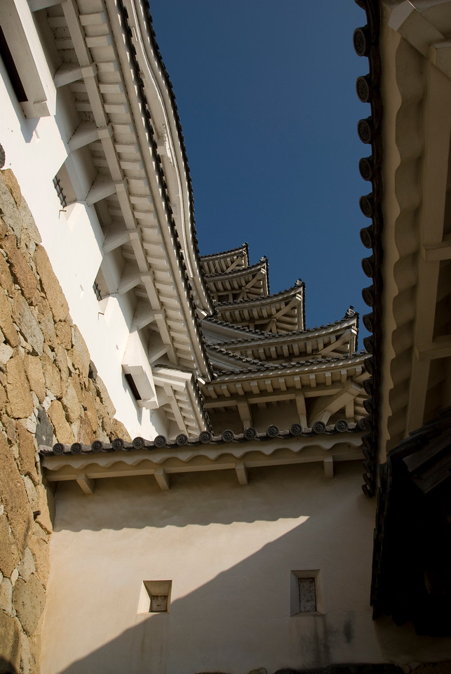 Looking up the rooftops of Himeji Castle from the courtyard - Himeji, Japan