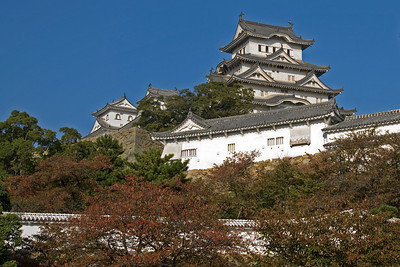 Shot of the Himeji Castle on a hill at Himeji, Japan