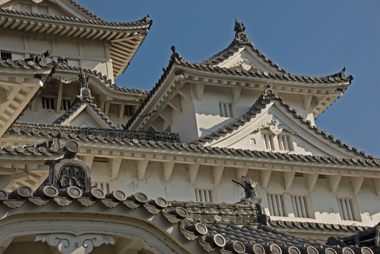 Close-up of Himeji Castle in Japan