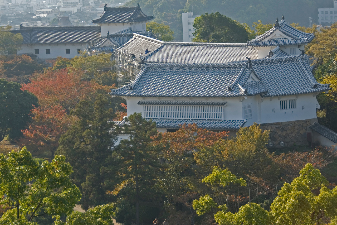 Shot of rooftops on castle outer buildings at Himeji, Japan