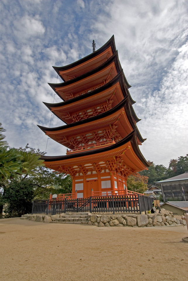 Beautiful shot of five story Pagoda in Itsukushima Shrine - Miyajima, Japan
