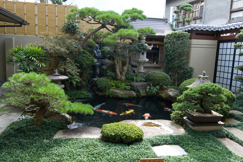 Beautiful zen garden with small pond in Miyajima, Japan