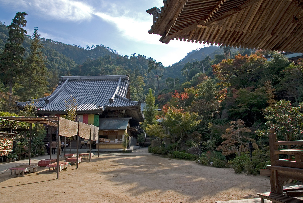 The grounds of Daisho-in Temple on a beautiful autumn day in Miyajima, Japan
