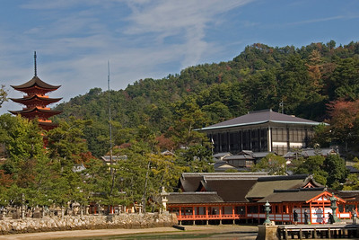 Panoramic shot of the Itsukushima Shrine and pagoda in Miyajima, Japan