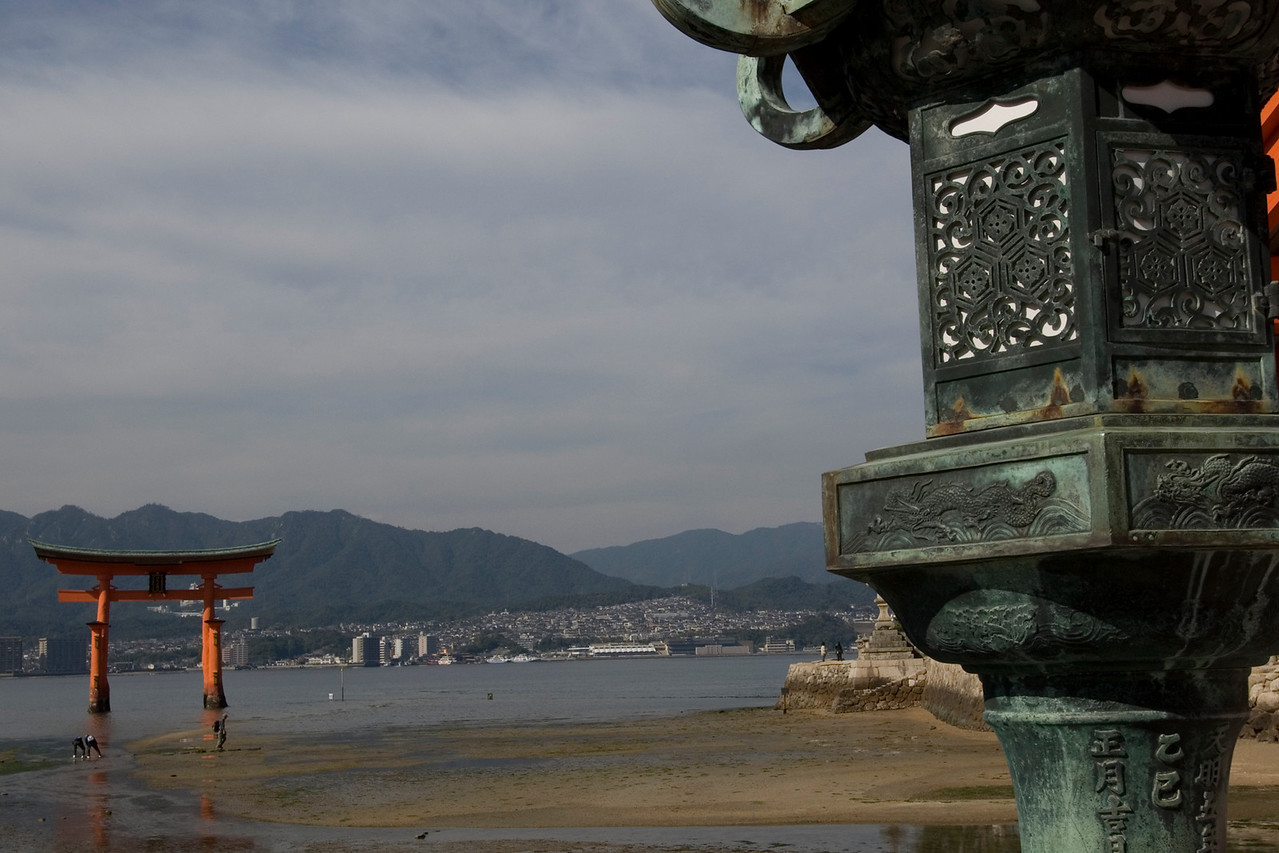 Shot of the Otorri Gate from afar in Itsukushima Shrine - Miyajima, Japan