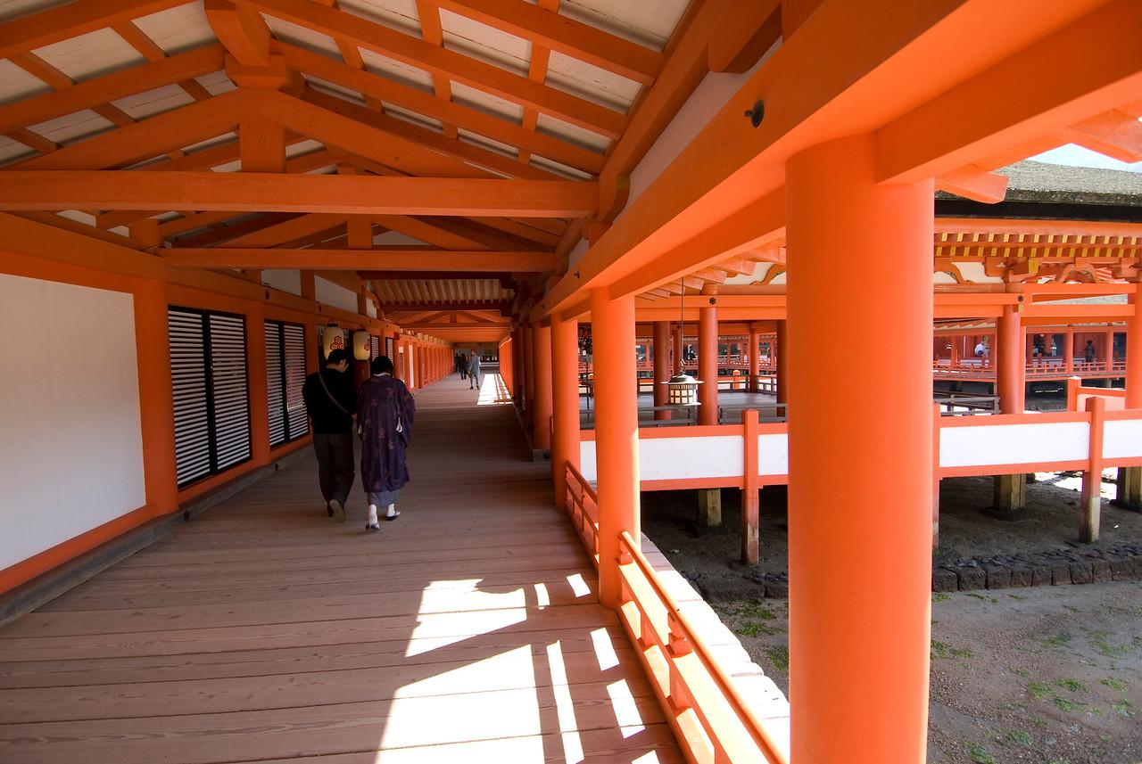 The colorful halls of Itsukushima Shrine in Miyajima, Japan