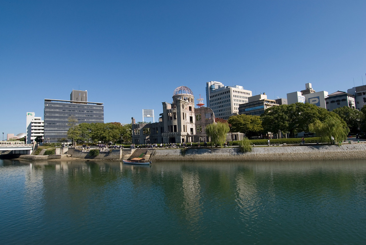 Shot of the Atomic Bomb Dome and Skyline from afar - Hiroshima, Japan