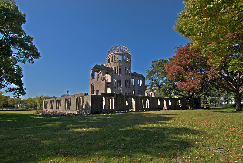 Enhanced landscape shot of Atomic Bomb Dome in Hiroshima, Japan