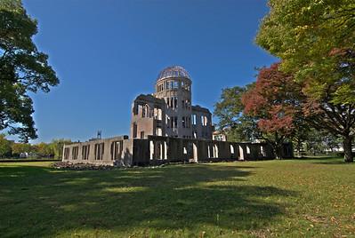 Enhanced landscape shot of Atomic Bomb Dome in Hiroshima, Japan