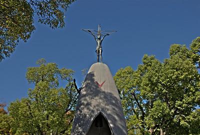 Close-up shot of statue above Children's Memorial in Hiroshima, Japan
