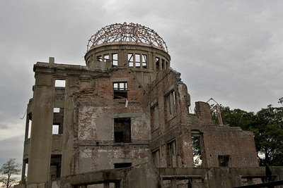 Remains of the dilapidated Atomic Bomb Dome in Hiroshima, Japan
