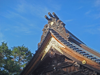 Details on the rooftop of Daisho-in Temple in Miyajima, Japan