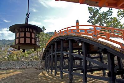 Bridge over barren land in Itsukushima Shrine - Miyajima, Japan