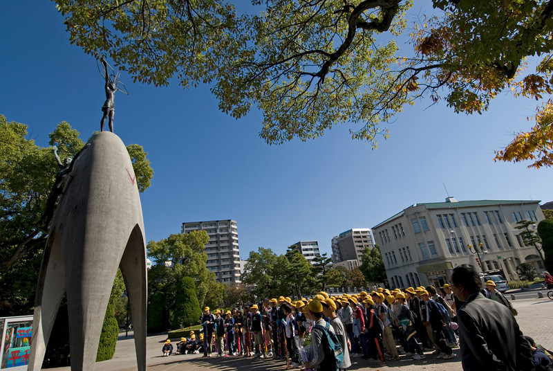 Students in front of the Children's Memorial at Peace Park in Hiroshima, Japan