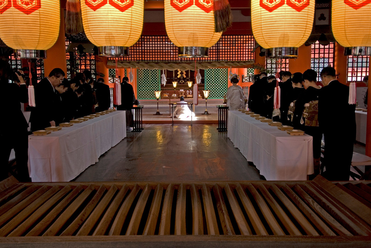 Buddhist Wedding held at Itsukushima Shrine in Miyajima, Japan