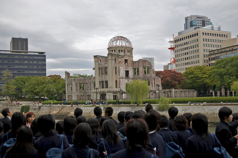 School kids at Atomic Bomb Dome in Hiroshima, Japan