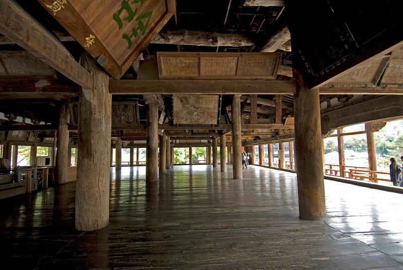 Wide interior space at Toyokuni Shrine in Miyajima, Japan