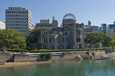 Shot of the Atomic Bomb Dome along with the city skyline in Hiroshima, Japan