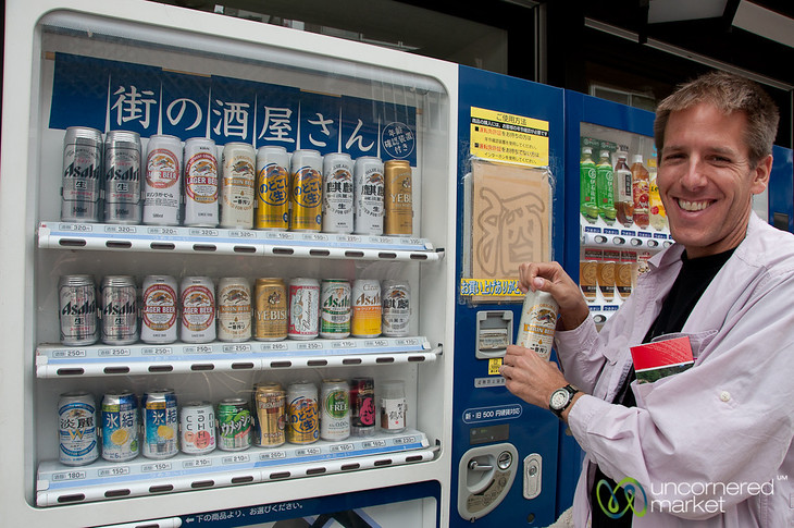 Dan Enjoys Beer from Vending Machine - Miyajima, Japan