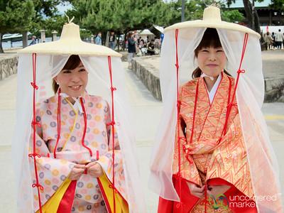 Japenese Women Wearing Traditional Clothes - Miyajima, Japan