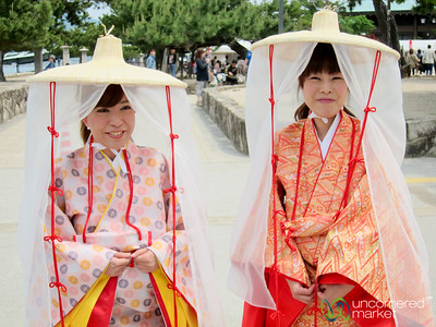 Japenese Women Wearing Traditional Clothes - Miyajima, Japan