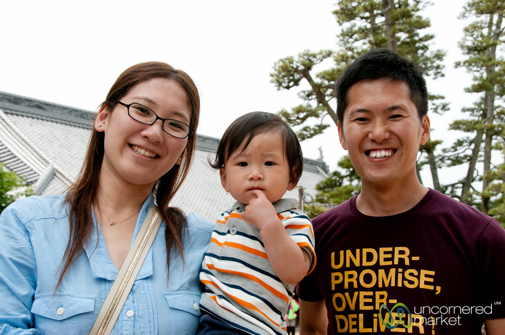 Japanese Family on Miyajima Island, Japan