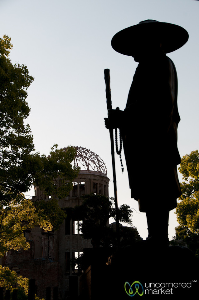 Silhouette of Pilgrim Statue Against Atomic Bomb Dome - Hiroshima, Japan