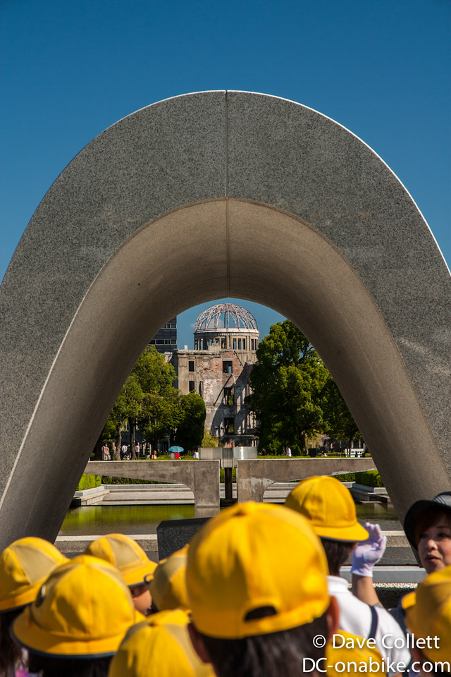 School kids, Cenotaph, Flame and A Bomb Dome