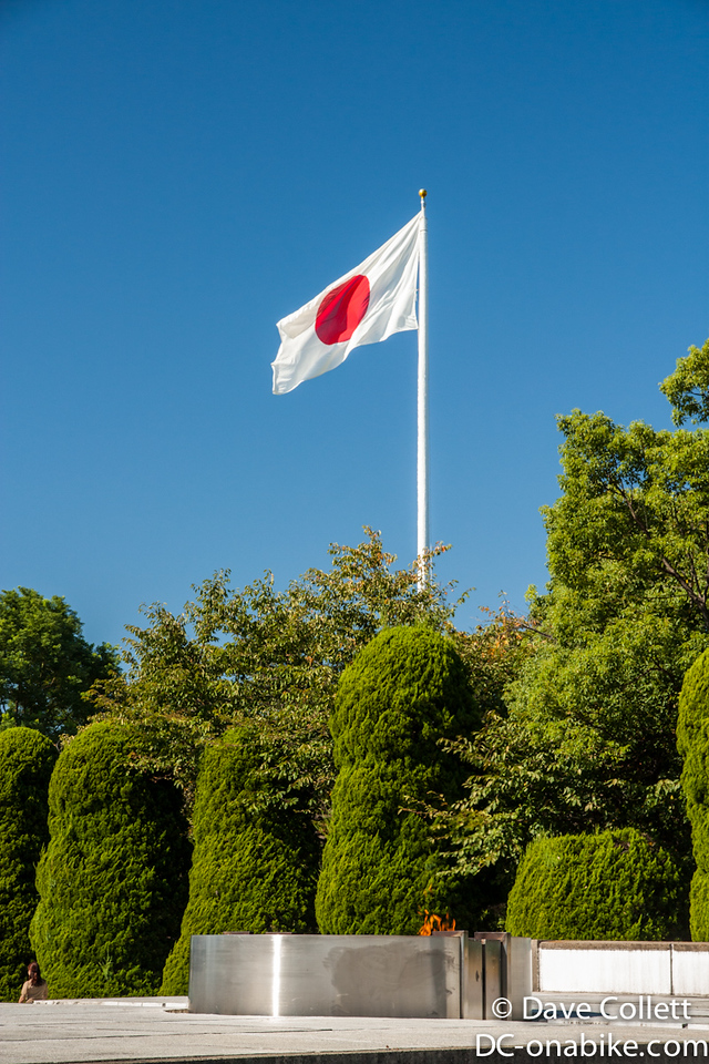 Peace flame and Japanese Flag