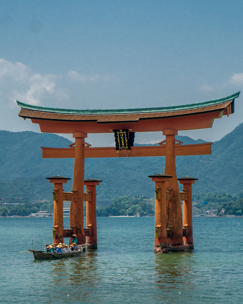 Itsukushima Shrine with the tide in floating
