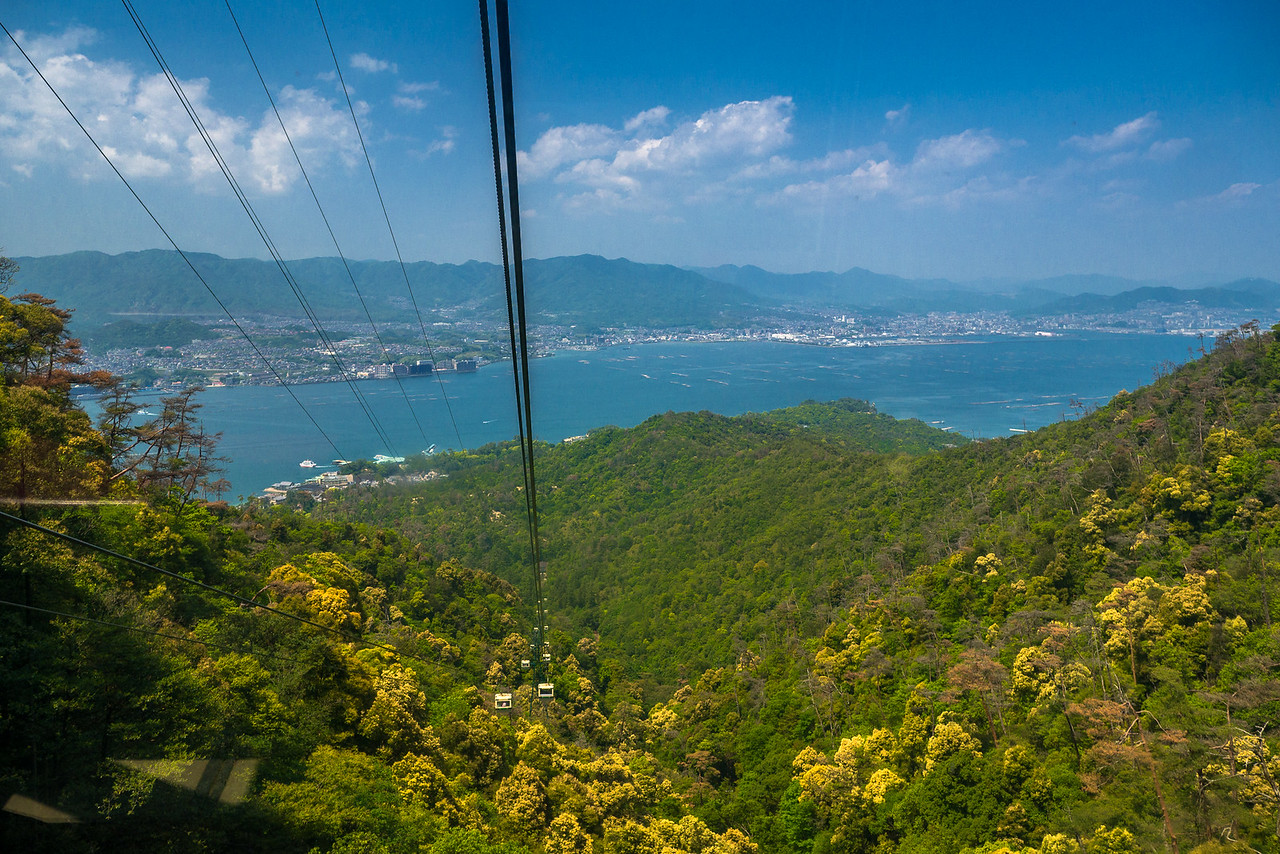 Views from the cable car going to the top of Miyajima Island! Miyajima Island, Hiroshima, Japan.