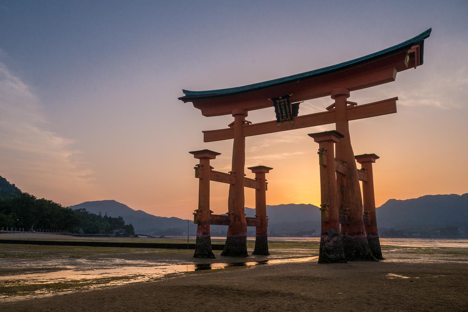 Sunet over Itsukushima Shrine on Miyajima Island