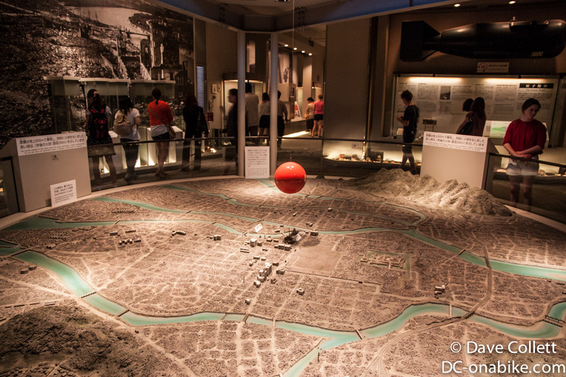 One of the many models of the city and blast. The red ball shows the size of the fireball 1 second after detonation..
