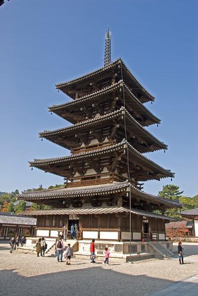 Five-story Pagoda at Temple in Horyuji, Temple