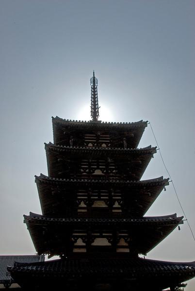 Looking up the Pagoda at Horyuji Temple - Horyuji, Japan