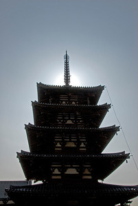Looking up the Pagoda at Horyuji Temple - Horyuji, Japan