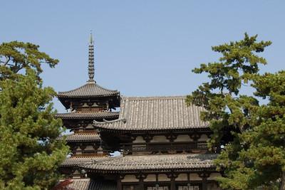 Rooftop and tower at Horyuji Temple in Horyuji, Japan