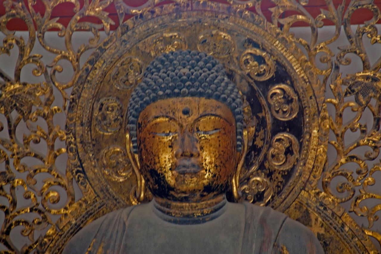 Close up shot of Horyjui Temple Buddha in Horjuyi, Japan