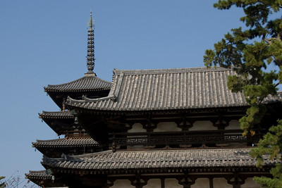 Detailed shot of Horyuji Temple Rooftops in Horyuji, Japan