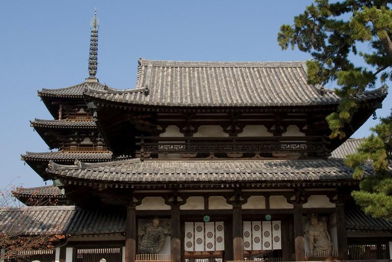 The rooftop of Horyuji Temple in Horyuji, Japan